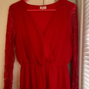 Tea n Cup Women's Red Romper Size Small